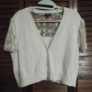 Crop Sweater with Lacy Top